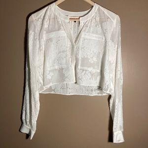 Rebecca Taylor silk white bolero cropped blouse
